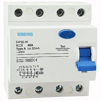 EBERG E4PE6-40 RCCB A40 4P FI-Schutzschalter, 40A 30mA Typ-A 4-polig ...