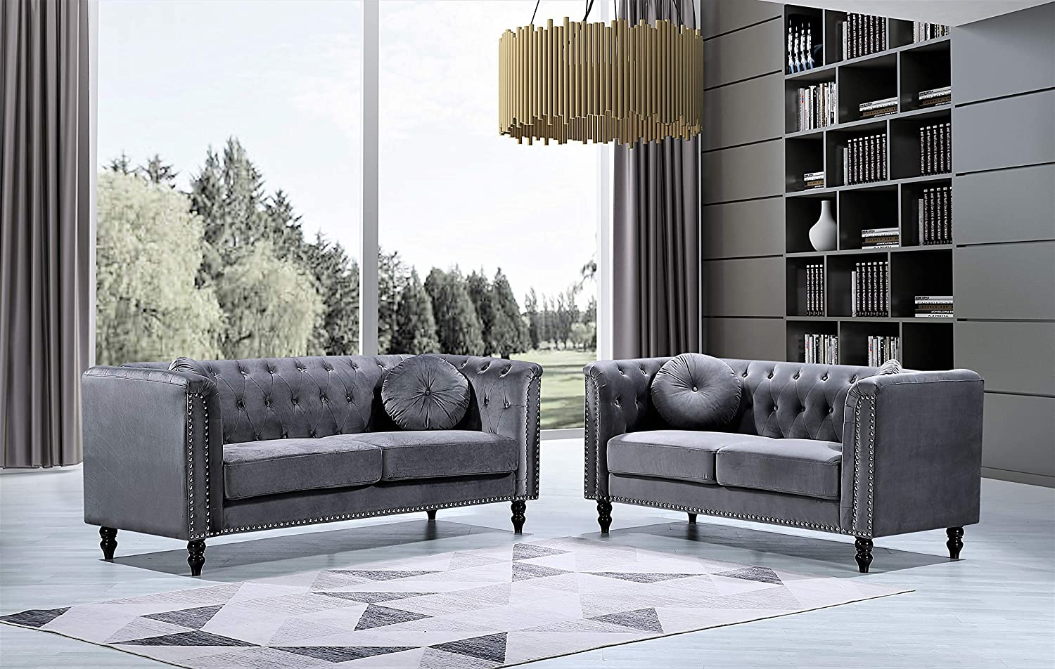 Container Furniture Direct Kittleson Mid Century Velvet Upholstered Nailhead Chesterfield Sofa Set, 2 Piece, Grey