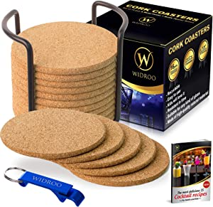 "Cork Coasters Round for Drinks with Holder – Premium Set 16 pcs., Diameter 4"" – Perfect to Protect Your Furniture, Heat Resistant, Moisture Absorbent – Best for Cold Drinks, Wine Glasses, Cups & Mugs"