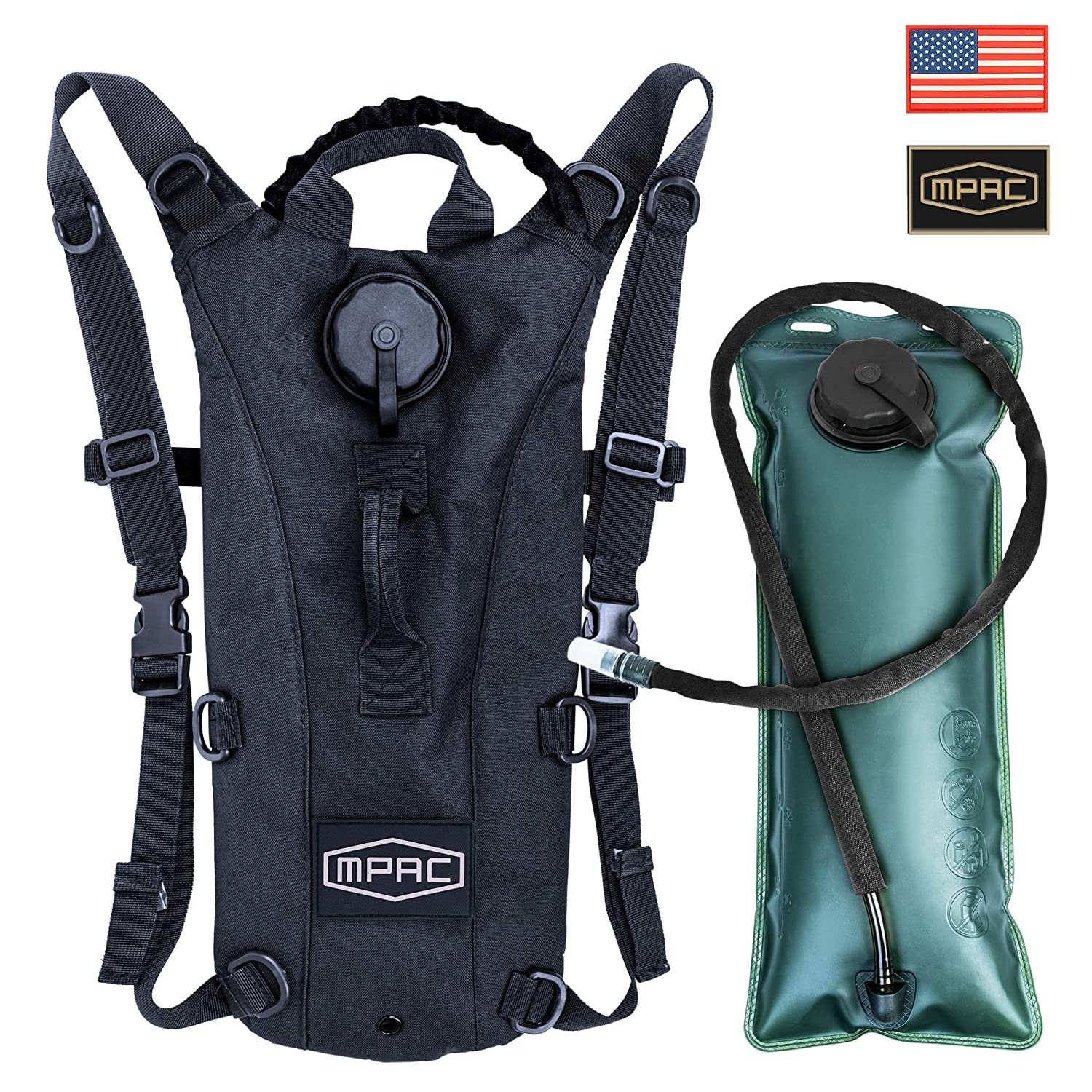 mPac Hydration Backpack Water Bag Pack with FDA Approved 3L BPA Free Bladder for Running Hiking Cycling Camping, Two Patches Included