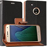 DMG Synthetic Leather Slim Wallet Flip Cover Case with Card Slots and Magnet Closure for Moto G5 Plus (Black/Brown)