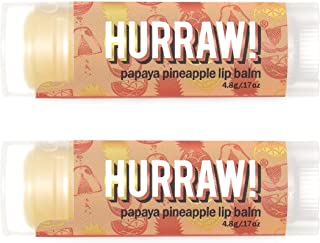 product image for Hurraw! Papaya Pineapple Lip Balm, 2 Pack: Organic, Certified Vegan, Cruelty and Gluten Free. Non-GMO, 100% Natural Ingredients. Bee, Shea, Soy and Palm Free. Made in USA