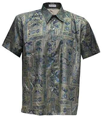 2aca25f399a Men s Shirt Short SleeveThai Silk Graphic Patterned at Amazon Men s  Clothing store