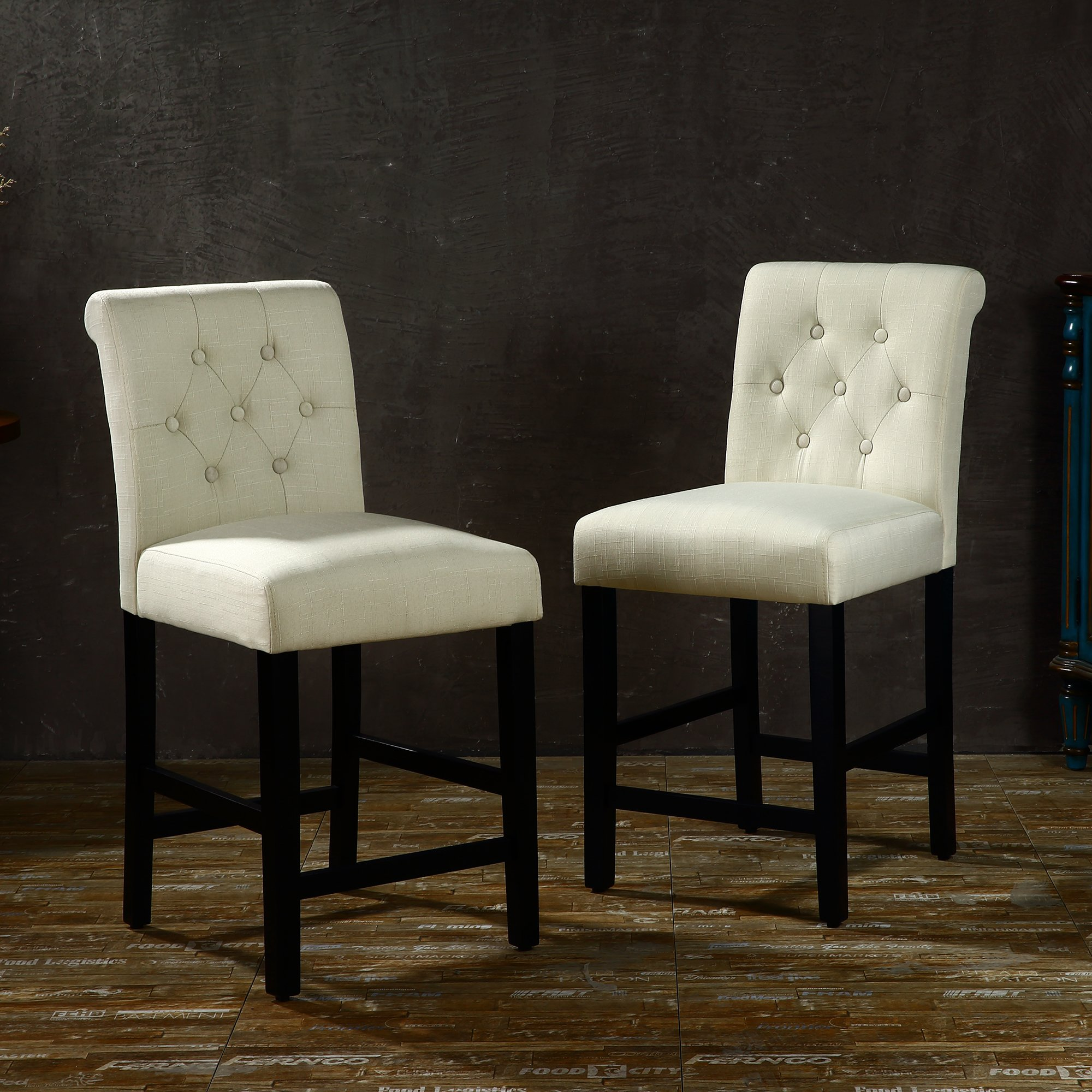 LSSBOUGHT Set of 2 Button-tufted Fabric Barstools Dining High Counter Height Side Chairs (Seat Height: 24'', Beige)