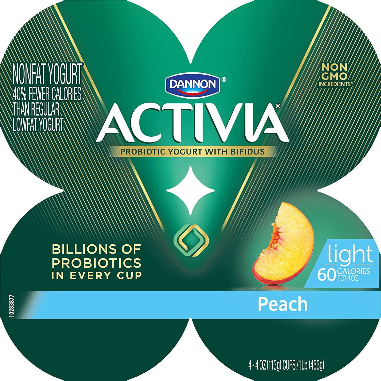 Dannon Activia Light Nonfat Yogurt, Peach, 4 Ounce (Pack of 4) Nonfat Probiotic Yogurt Snack: Amazon.com: Grocery & Gourmet Food