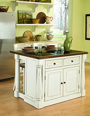 Home Styles Monarch White Kitchen Island with Granite Top, Breakfast Bar,  Two Stools, Solid Oak Hardwood Top, Black Granite Inset, Two Drawers, and  ...