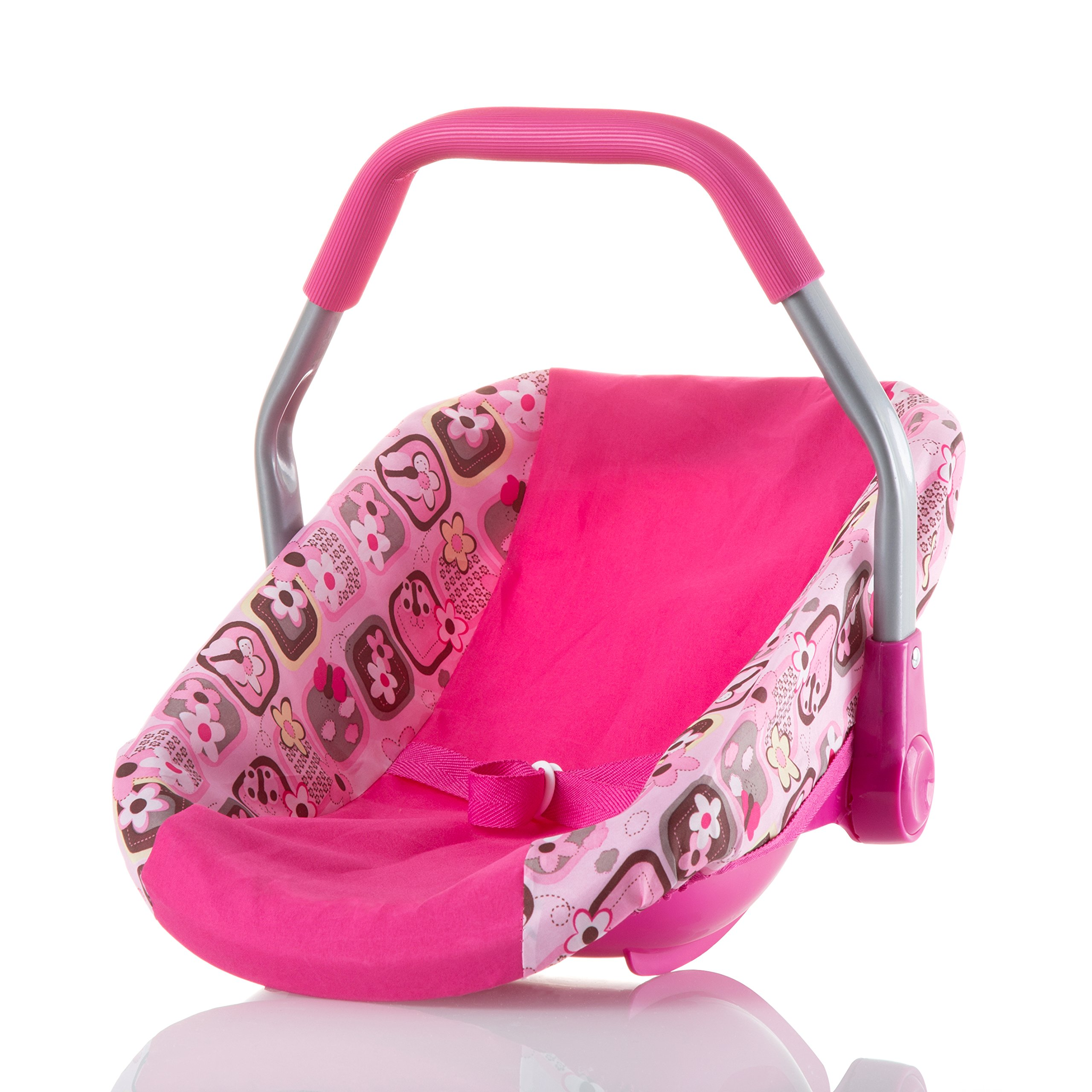 Baby Doll Car Seat | Adorable Baby Girl Doll Car Seat with Washable Cover | Sturdy, Cute, Easy Setup Pink Doll Stroller Car Seat for Dolls & Plush Toys | Great Gifting Idea Doll Carrier SeatBaby Doll