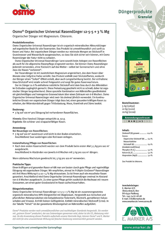 Osmo Universal Fertilizante para césped de 12-5-5 (DK 12-2-4) Saco de 5 kg Fertilizante de liberación lenta para césped verde denso y césped naturalmente ...