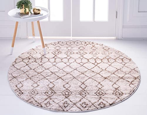 Unique Loom Titan Collection Moroccan Tribal Soft Shaggy Pile Brown Round Rug 8 4 x 8 4