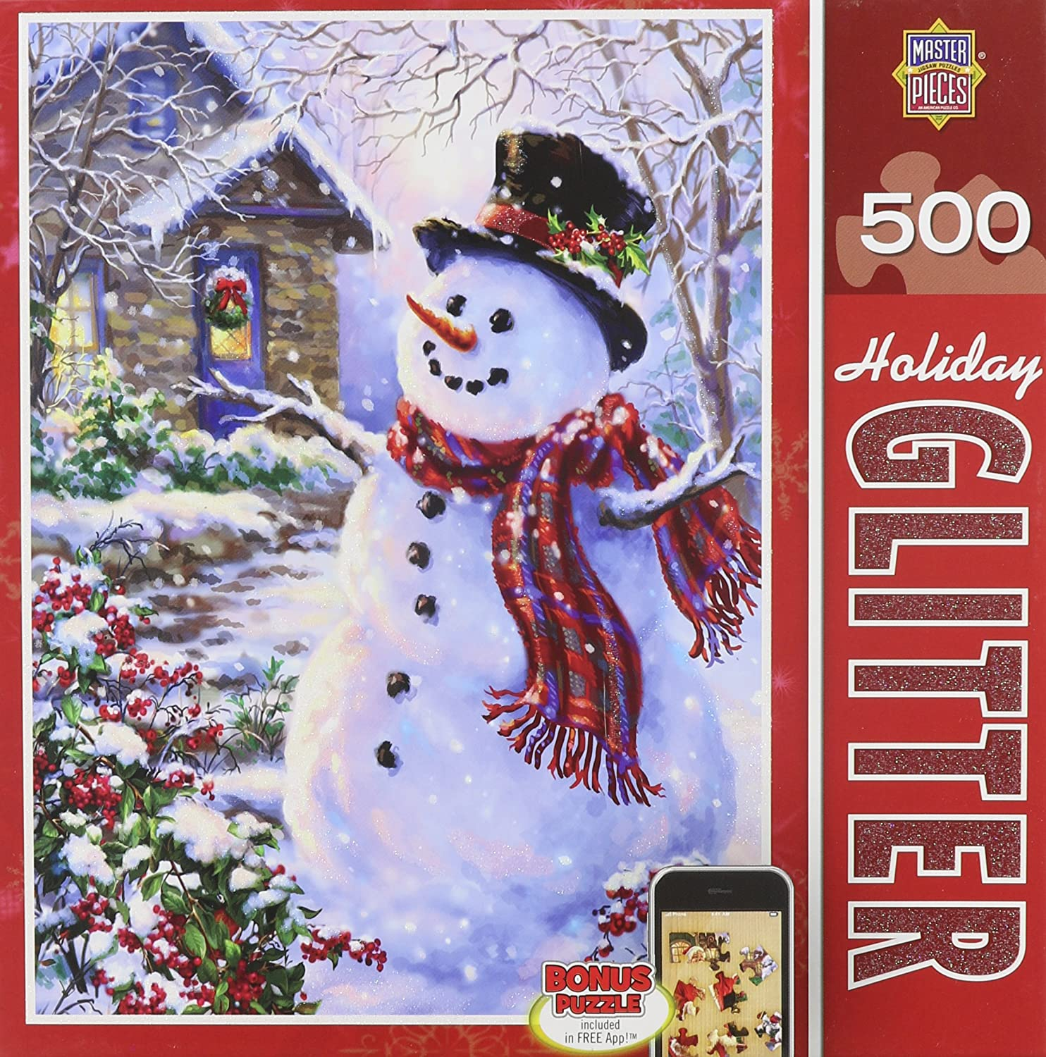 Holiday Glitter Let it Snow - Snowman 500 Piece Jigsaw Puzzle