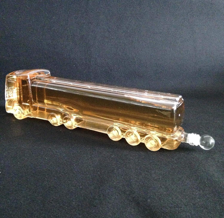 Carafe en Verre de Whisky Dispositif deau de d/écanteur 1000ML FZYE Carafe en Forme de Camion Bouteille en Verre de Camion de Pompiers de d/écoration en Verre