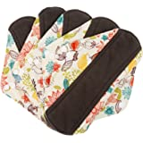 Wegreeco Bamboo Reusable Sanitary Pads - Cloth Sanitary Pads - Pack of 5 (Medium, Camellia Beauty)
