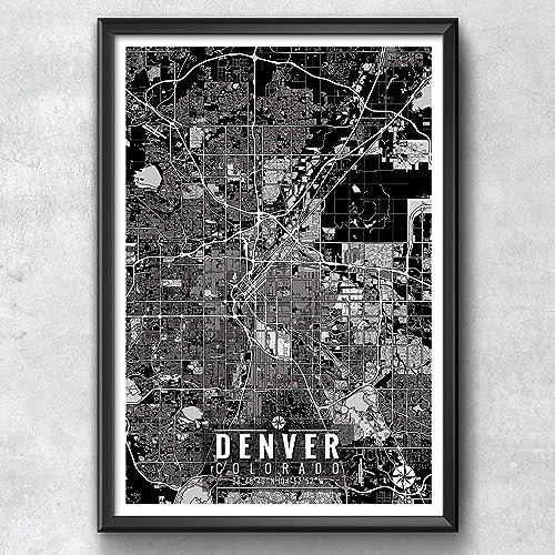 Colorado Map Art.Amazon Com Denver Colorado Map With Coordinates Denver Wall Art