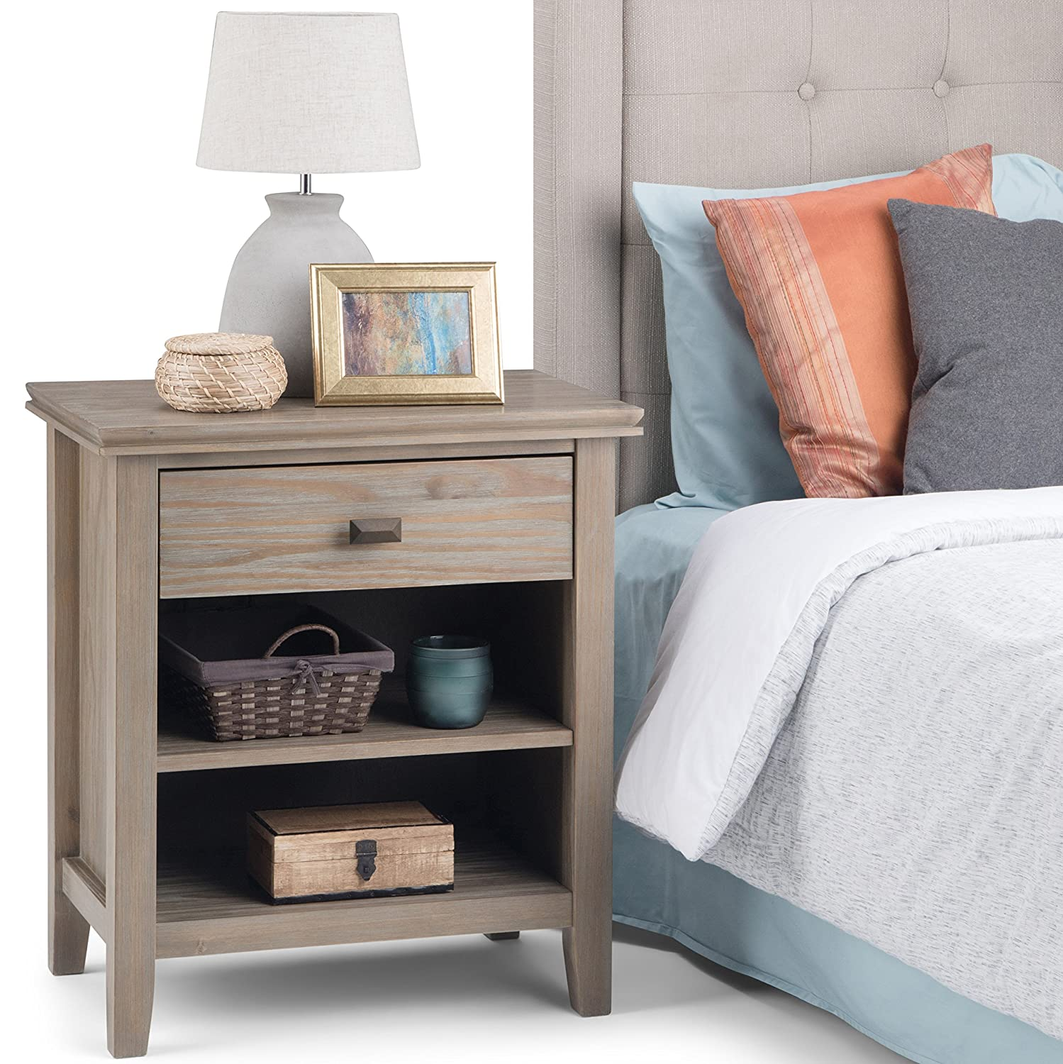 Simpli Home 3AXCART-02GR Artisan Solid Wood 24 inch Wide Contemporary Bedside Nightstand Table in Distressed Grey