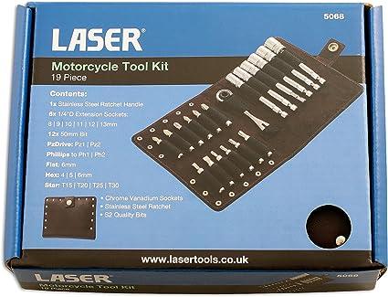 Laser Tools 5068 Motorcycle Tool Kit 19pc Chrome Vanadium