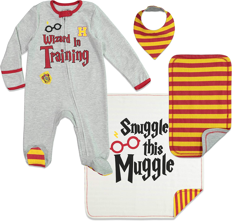 Harry Potter Baby Layette Gift Set Footies Blanket Bib /& Burp Cloth
