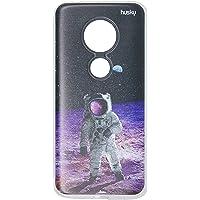 Capa Personalizada para Moto G6 Play - Astronauta na Lua, Husky, Proteção Completa (Carcaça+Tela), Colorido
