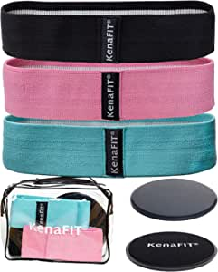 KenaFIT Booty Bands and Core Slider Strength Set - Fabric Resistance Bands for Legs and Butt, Glutes, Thigh Non-Slip Bands for Squats, Deadlifts, Yoga - 3 Hip Bands and 2 Gliders for Working Out