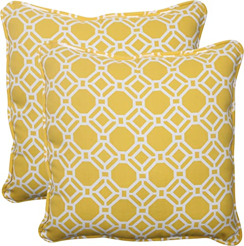 Pillow Perfect Outdoor Indoor Rossmere Sunshine Lumbar Pillows, 11.5 x 18.5 , Yellow White, 2 Pack