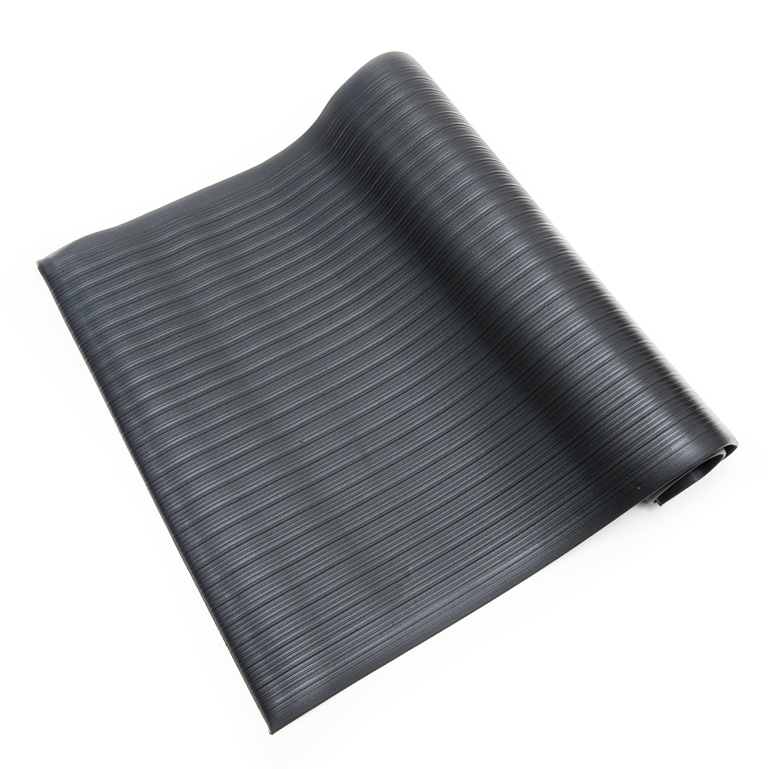 Bertech Anti Fatigue Vinyl Foam Floor Mat, 3' Wide x 5' Long x 3/8'' Thick, Ribbed Pattern, Black, Bevelled on All Four Sides  (Made in USA)