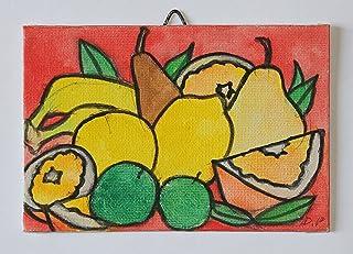 La Frutta-Dipinto a mano su cartoncino telato,dimensioni 15x10x0,3cm,pronto per essere attaccato alla parete.Made in Italy,toscana lucca.Creato da Davide Pacini.