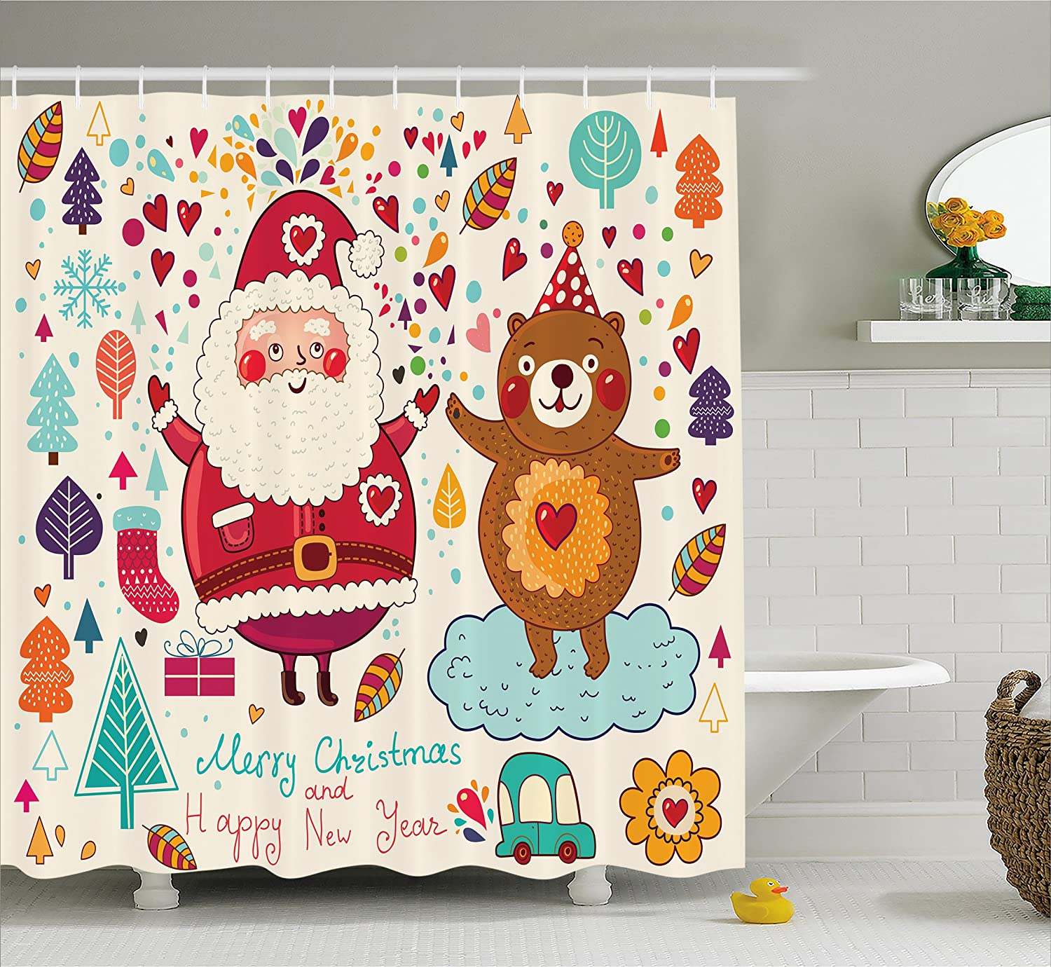 Kids Shower Curtain Funny by Ambesonne, Christmas Santa and Teddy Bear Vintage Christmas Ornaments for Party Room Nursery Decor Theme, Polyester Fabric Bathroom Set with Hooks, Multi