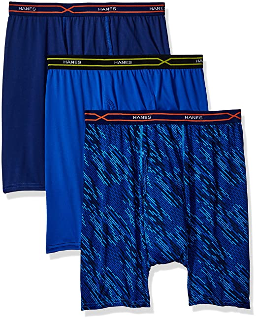 7287d6c62f22 Hanes Men's 3-Pack X-Temp Performance Cool Boxer Brief (1 Print/2 Solids)  at Amazon Men's Clothing store: