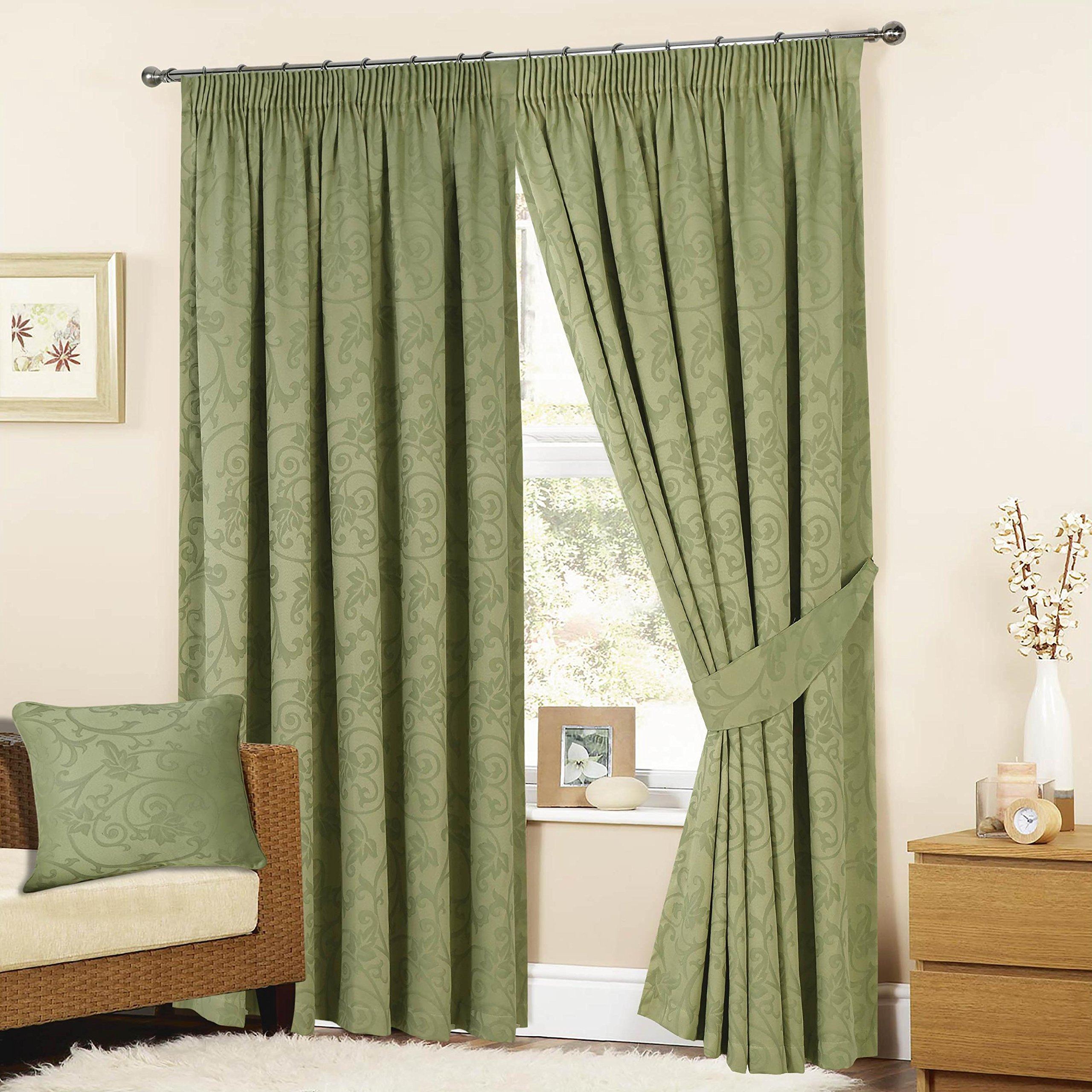 K LIVING Turin Tape Curtains In Sage Green Various Sizes Available 65 X 90