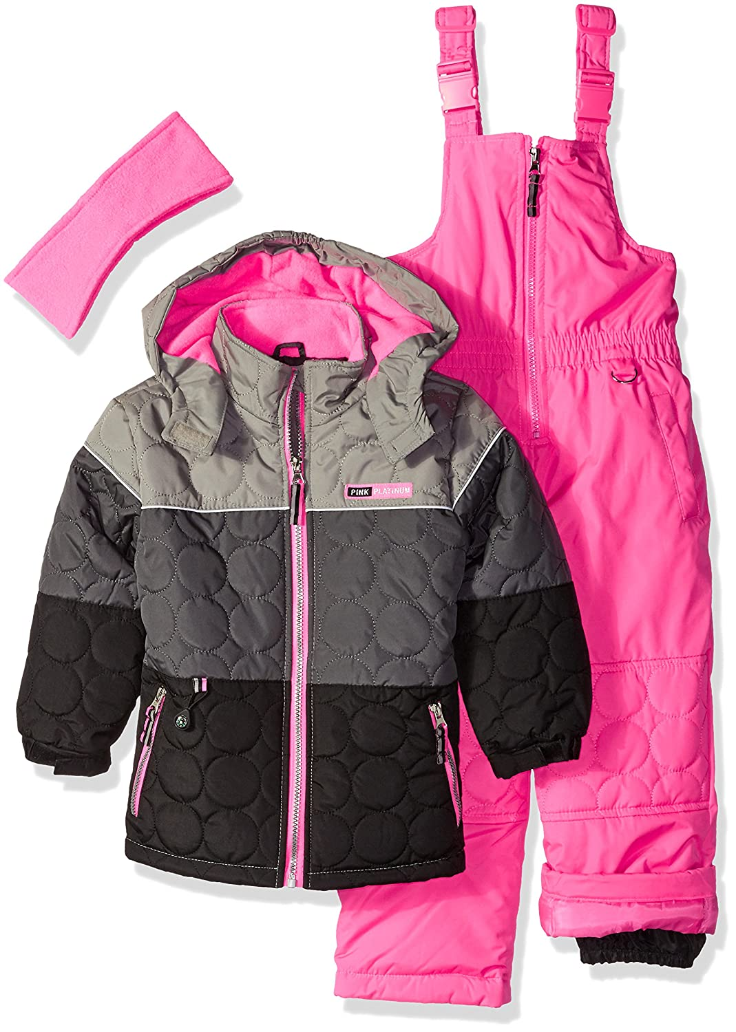 snowsuit platinum pink quilted jackets piece dsc image snowpants girls rev clipped plum bib snowsuits