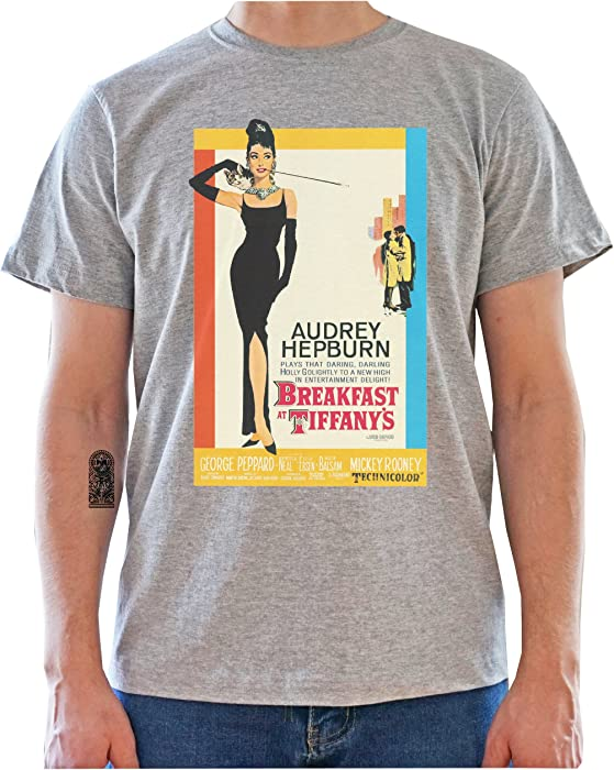 c127187f Breakfast at Tiffany's Movie Poster with Audrey Hepburn - Graphic Mens  T-Shirt. Back. Double-tap to zoom