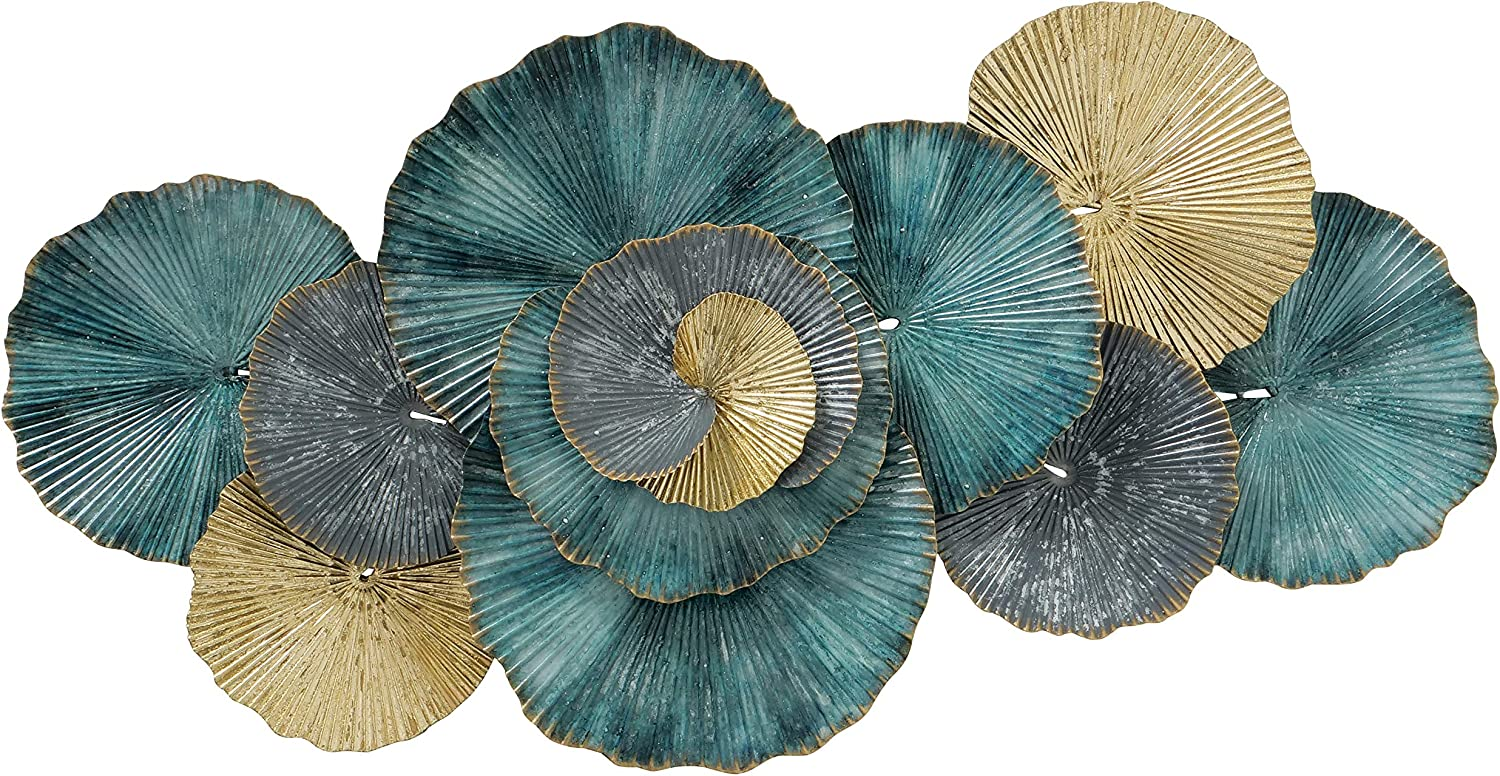 Modernist Floating Ruffled Roundels, Pleated Metal Wall Sculpture, Golden Gilt, Distressed Blue, Green and Grey, Hand Welded and Painted, 35.75 Inches Wide, Home Art Decor