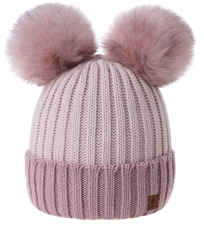 MFAZ Morefaz Ltd Women Ladies Winter Beanie Hat Knitted Chunky Double Faux Fur Pom Pom 02