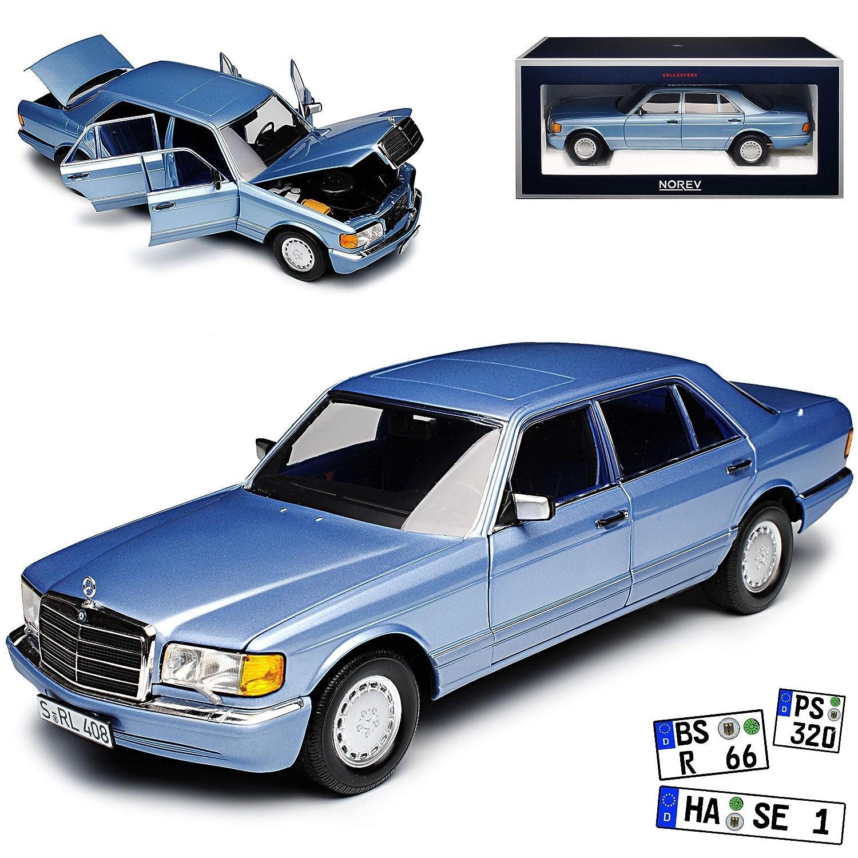 Ohne Wunschkennzeichen Norev Mercedes-Benz 560 SEL S-Klasse Hell Blau Metallic W126 1979-1991 1 18 Modell Auto