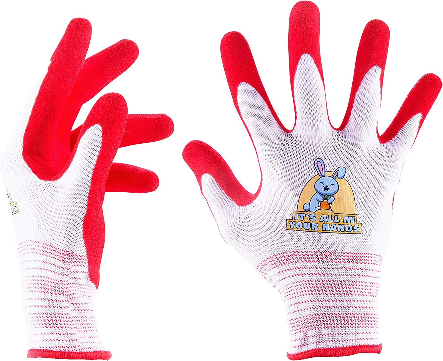 Gardening Gloves for Women - Set of 3 Pairs Size Medium - Breathable Rubber Coated Cotton Blend High-Performance Garden Gloves - Non-Slip Working Gloves - Red and White Bunny Design