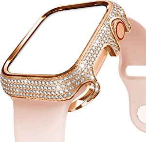 BaiHui Compatible with Apple Watch Case 38mm 40mm 42mm 44mm Series 5/4/3/2,Stainless Steel Protective Cover with Bling Crystal Rhinestone Diamonds Replacement Case for Women/Girls (Rose Gold, 38mm)