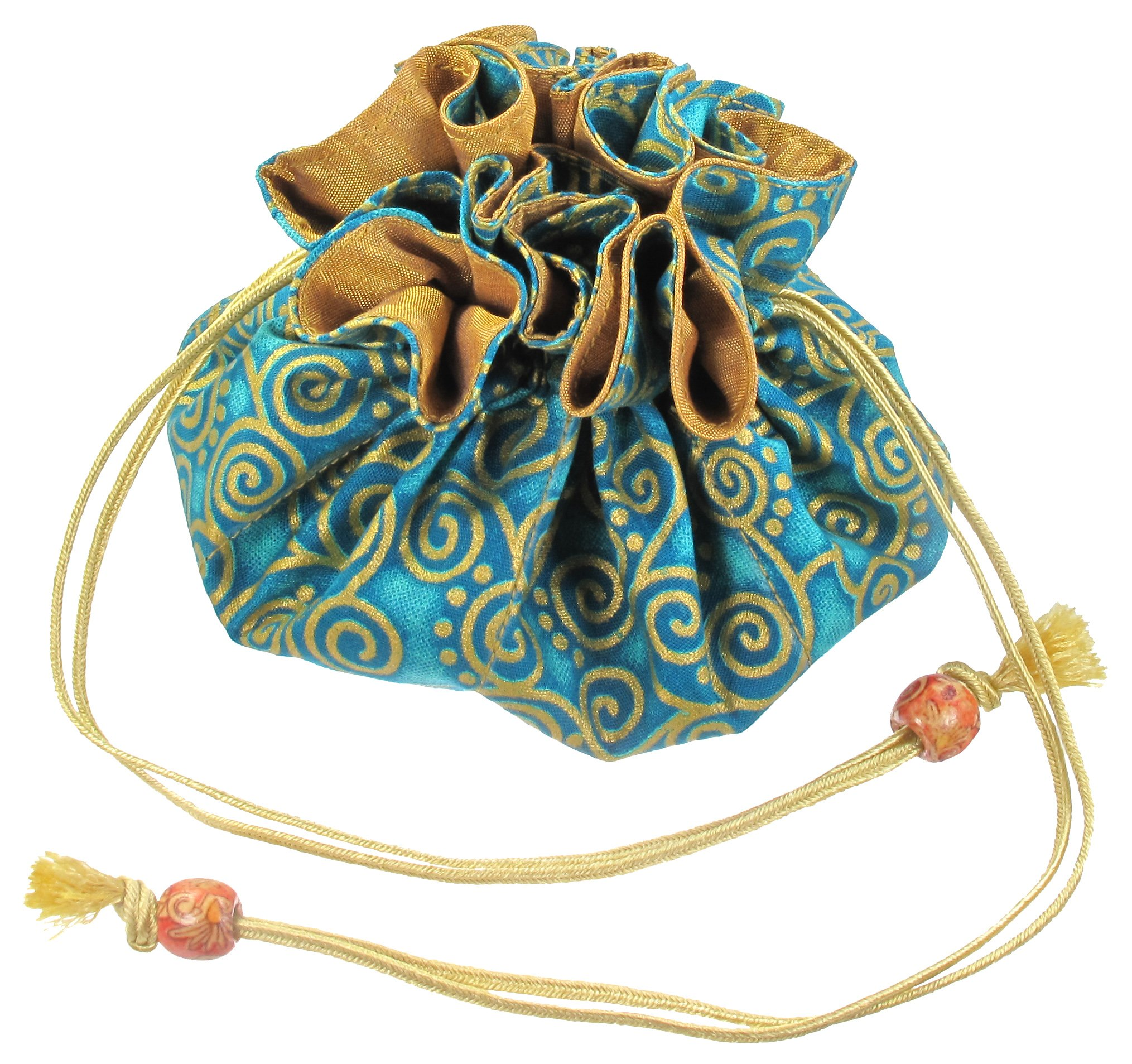 Silk & Cotton Drawstring Jewelry Pouch, Aquamarine Blue with Gold Swirls by TropicaZona