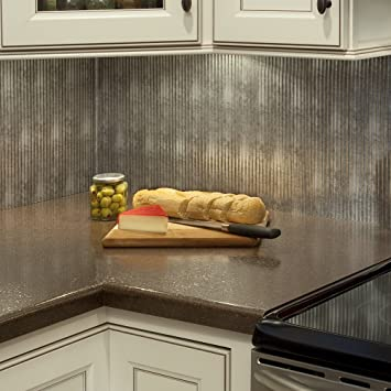 Fasade Easy Installation Rib Crosshatch Silver Backsplash Panel For Kitchen And Bathrooms 18 Quot X