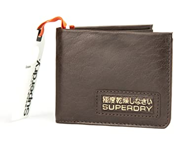 Superdry Mens Classic Distressed Bi Fold Leather Wallet in Jim Brown