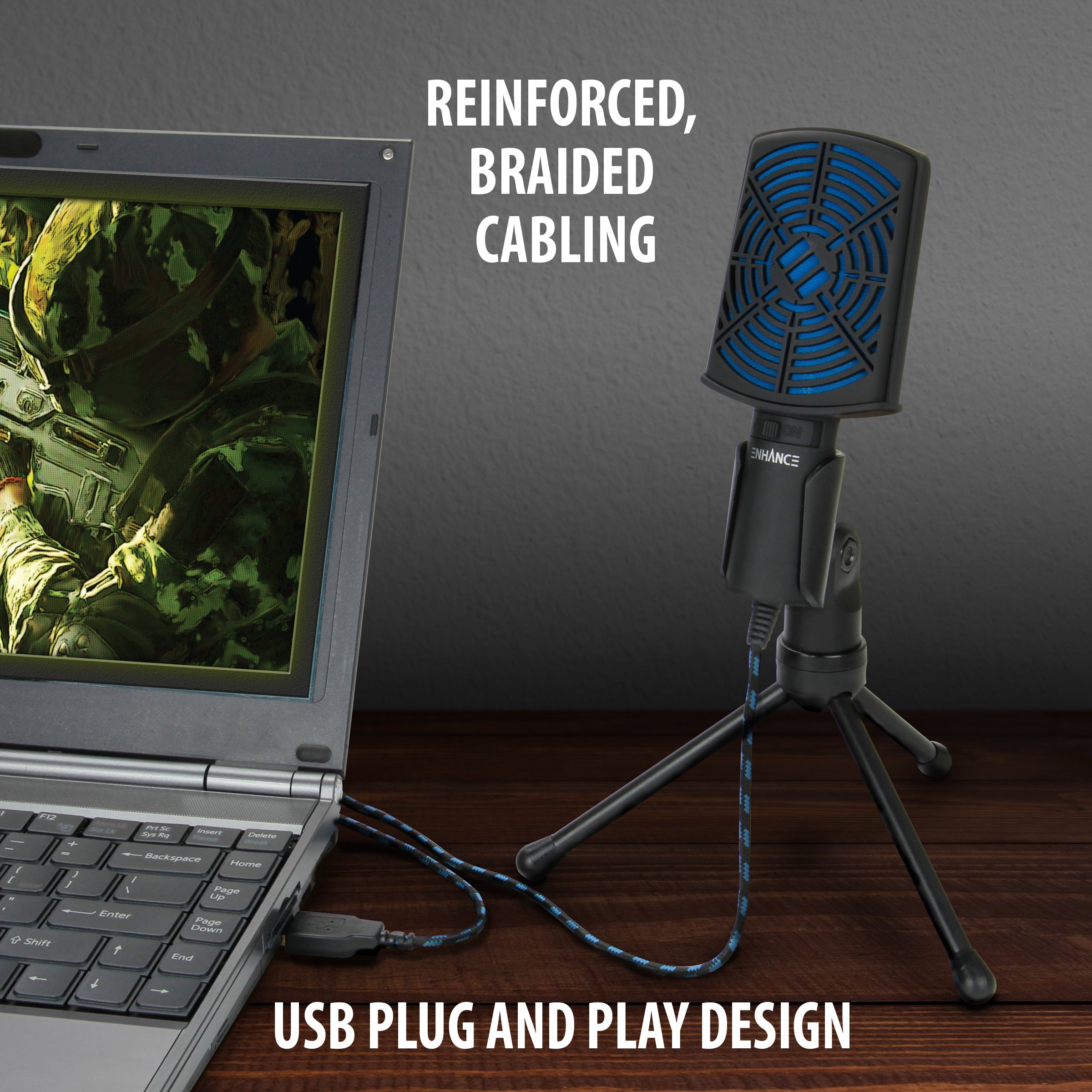ENHANCE USB Condenser Gaming Microphone - Computer Desktop Mic for Streaming & Recording with Adjustable Stand Design and Mute Switch - For Skype, Conference Calls, Twitch, Youtube, and Discord - Blue by ENHANCE (Image #6)
