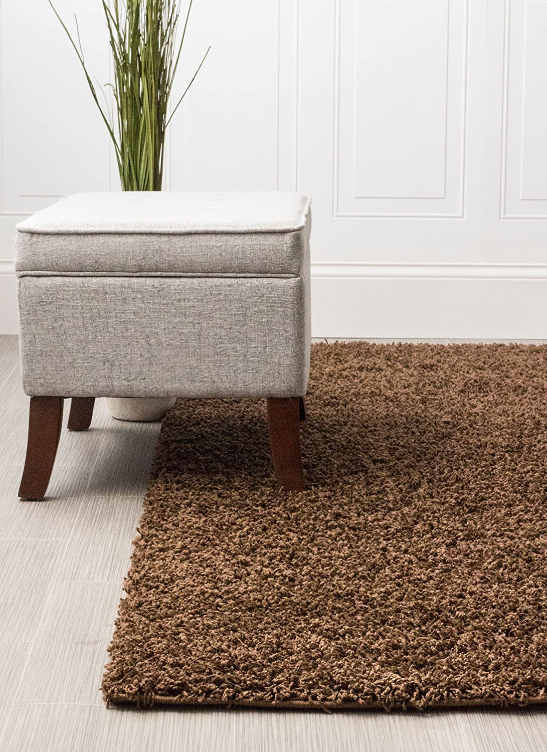 Amazon Super Area Rugs Cozy Solid Brown High Pile Shag Rug 5 X 8 Kitchen Dining