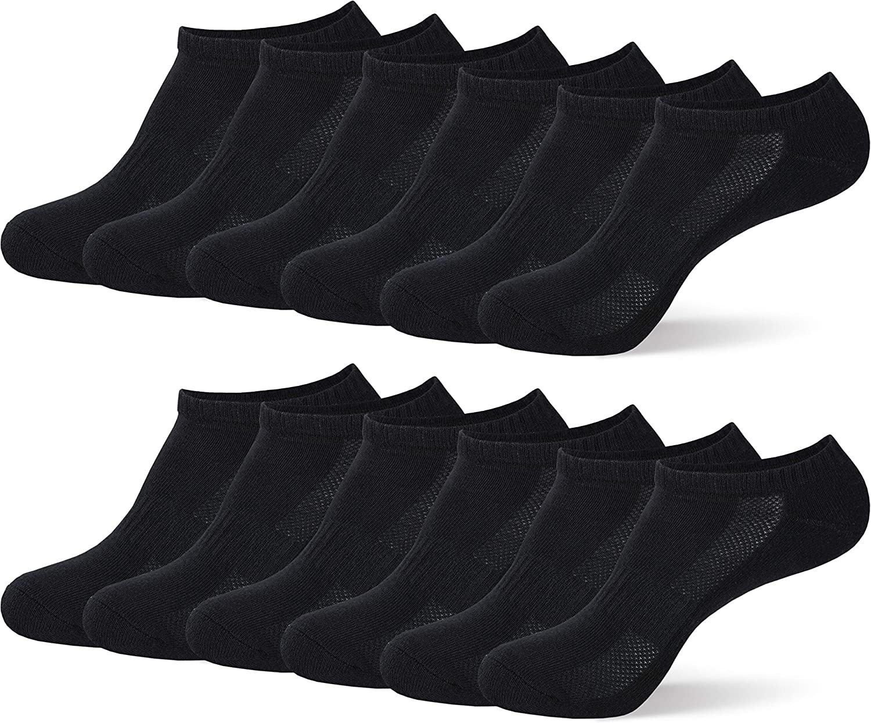 MC.TAM/® Unisex Calze Sportivi Ragazzo Ragazza Calzini Corti Sneaker 6 Paia 80/% Cotone Nero 6x S 31-34