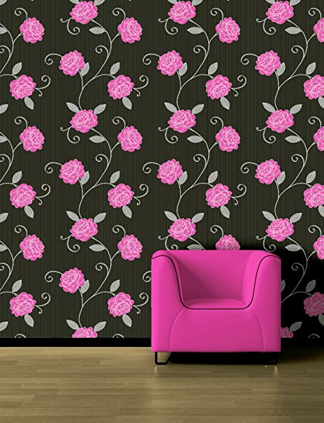 Picasso Black Silver Magenta Pink Floral Wallpaper Amazon