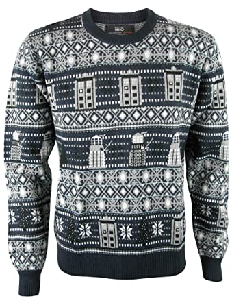 Doctor Who Tardis And Daleks Christmas Sweater Official Bbc