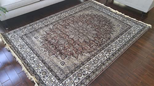 Silk Brown Grey Ivory Black New Traditional Isphan Area Rugs Ultra Low Pile 5 2×7 6 160x230cm 347brown
