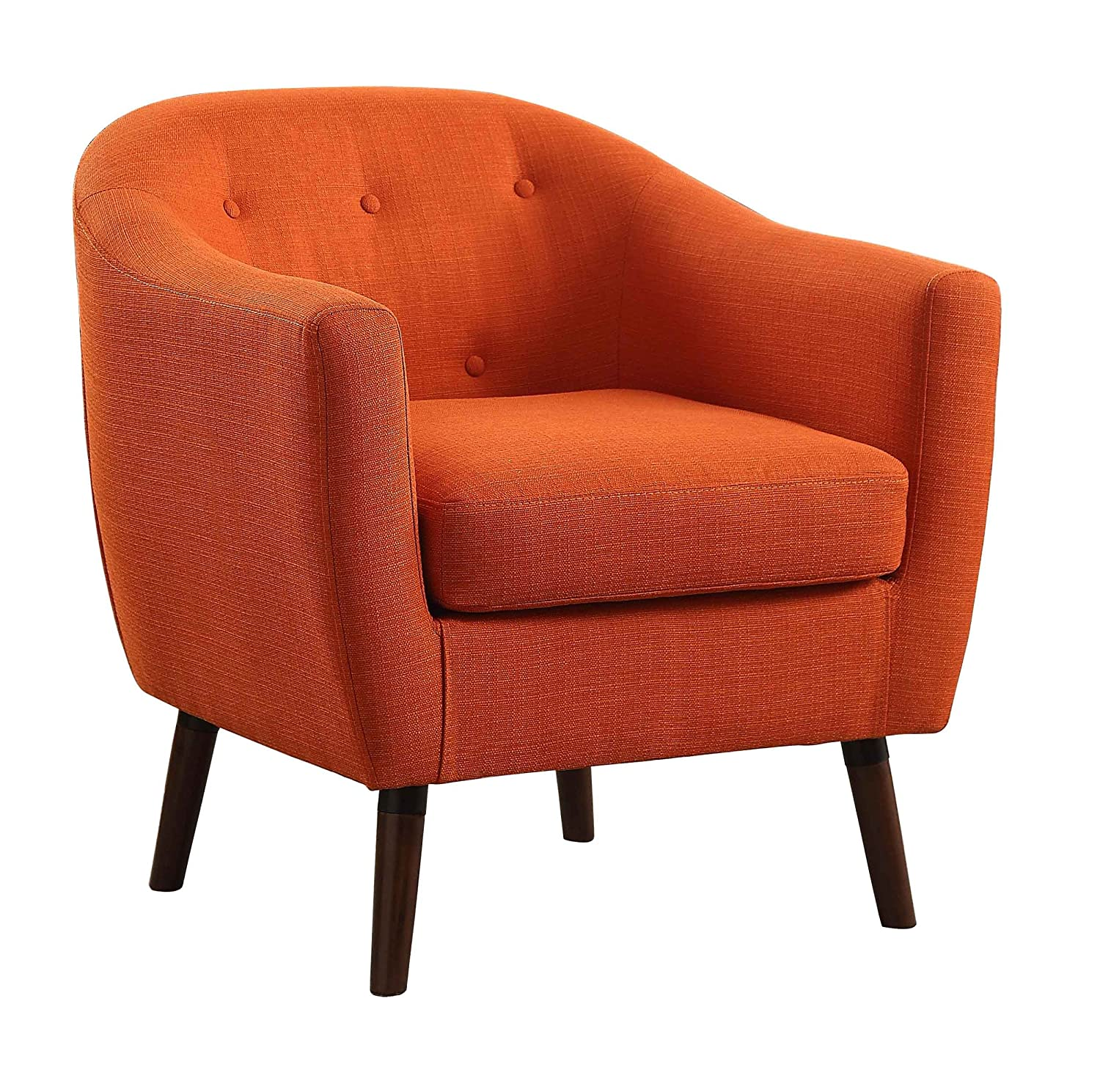 Homelegance Lucille Fabric Upholstered Pub Barrel Chair, Orange