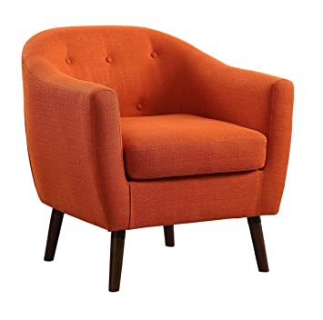 homelegance lucille button tufted lowraised curved backrest accent chair with polyester cover orange