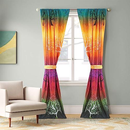 Rainbow Tree Curtain Panel Set  Two Panels and Two Tiebacks
