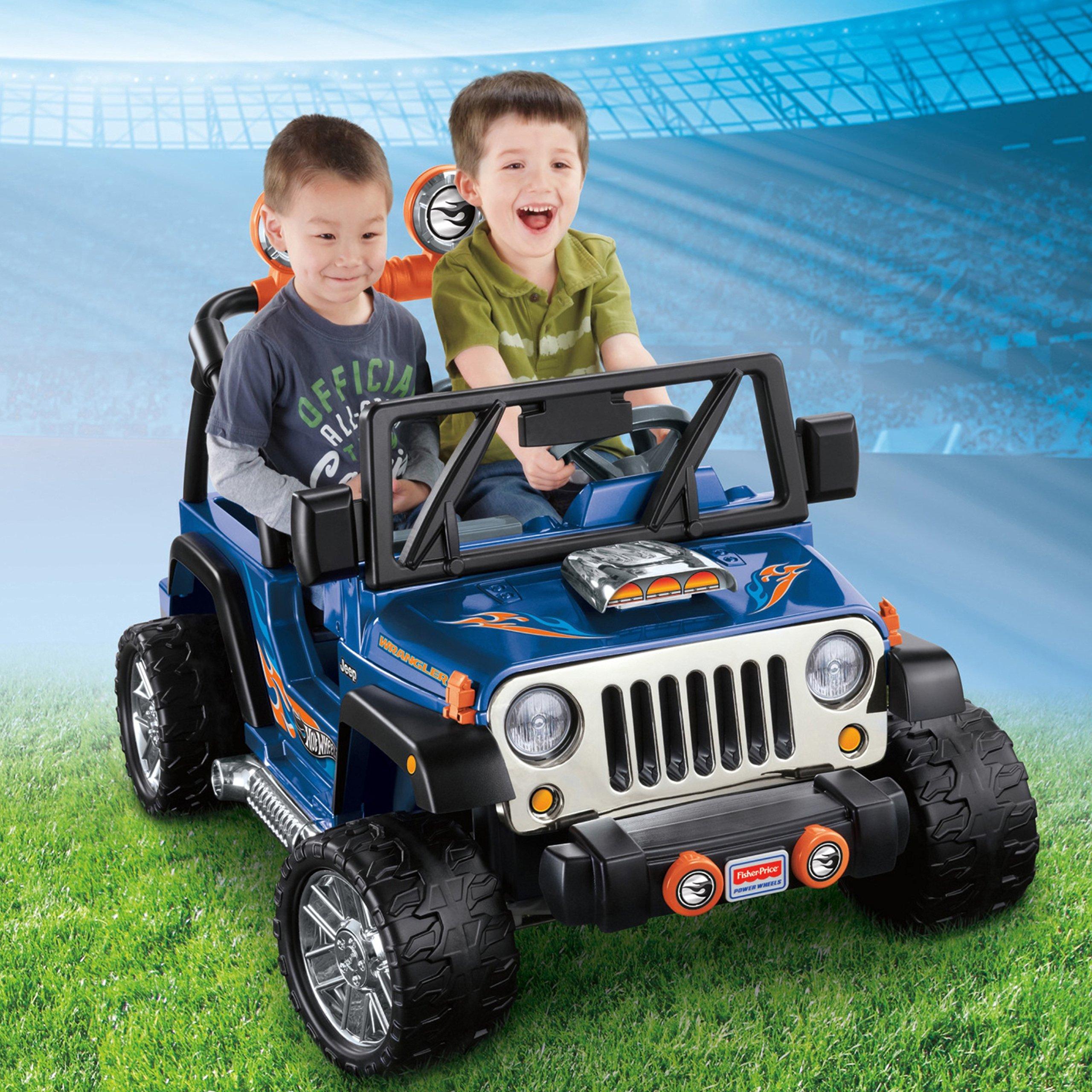 power wheels hot wheels jeep wrangler blue 12v amazon. Black Bedroom Furniture Sets. Home Design Ideas