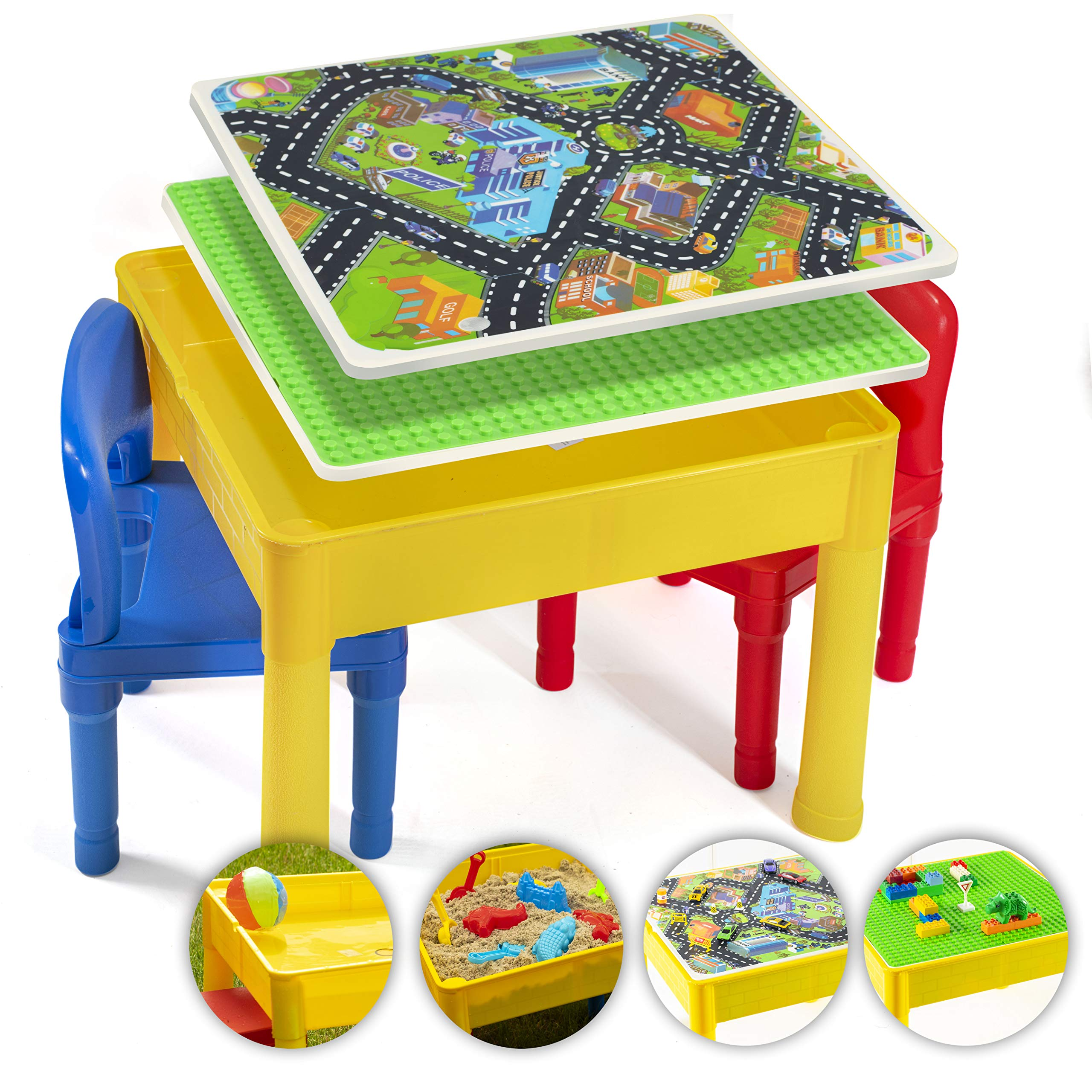Prextex Kids 5 in 1 Store and Play Craft, Bricks, Water & Car Roads, Activity Play Table Set with 2 Chairs by Prextex