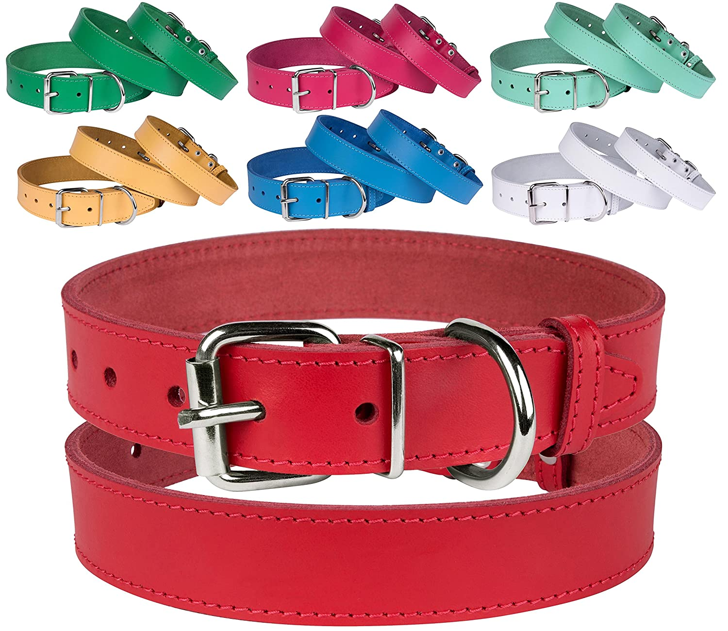 Red Neck Size 7\ Red Neck Size 7\ BronzeDog Genuine Leather Dog Collar Puppy Pet Collar for Dogs Small Medium Large Pink Red bluee Green Turquoise White Yellow (Neck Size 7  9 , Red)